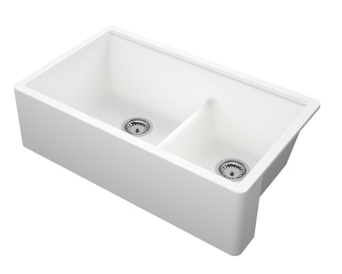 "Empire Industries Titan 34"" Granite Composite Farmhouse Sink, 60/40 Double Bowl, White, TF33DWG"