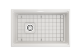 "BOCCHI Contempo 30"" Fireclay Farmhouse Apron Single Bowl Kitchen Sink, White, 1344-001-0120 Top View with Grid 