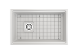 "BOCCHI Contempo 30"" Fireclay Farmhouse Apron Single Bowl Kitchen Sink, Matte White, 1344-002-0120 Top View with Grid 