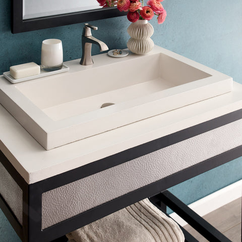 "Native Trails Trough 30"" Rectangle Nativestone Concrete Bathroom Sink, Pearl, NSL3019-PX"