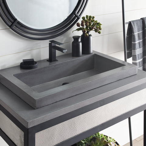 "Native Trails Trough 30"" Rectangle Nativestone Concrete Bathroom Sink, Slate, NSL3019-SX"
