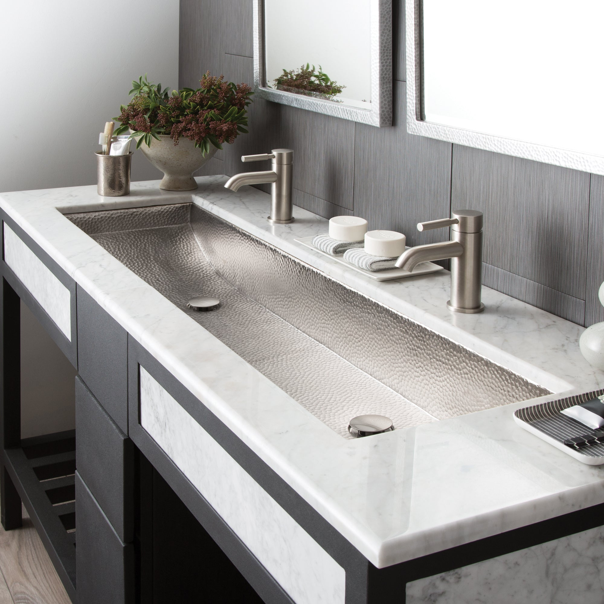 Native Trails Trough 48 Rectangle Nickel Bathroom Sink Brushed Nicke The Sink Boutique