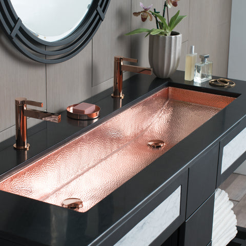 "Native Trails Trough 48"" Rectangle Copper Bathroom Sink, Polished Copper, CPS408"