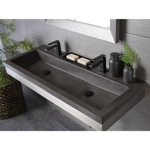 "Native Trails Trough 48"" Rectangle Nativestone Concrete Bathroom Sink, Slate, NSL4819-S"