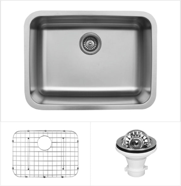 "Karran 24"" Undermount Stainless Steel Kitchen Sink, 18 Gauge, U-2418-PK1"