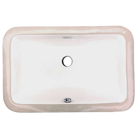 "Nantucket Sinks Great Point 17"" Rectangle Undermount Ceramic - Vitreous China Bathroom Sink, White, UM-159-W"