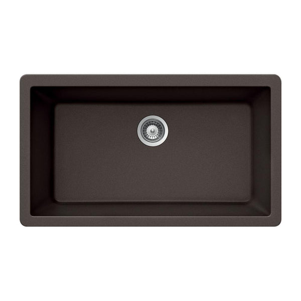 "Houzer 33"" Granite Undermount Single Bowl Kitchen Sink, Brown, V-100U MOCHA"