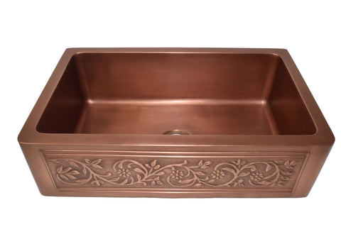 "Empire Industries Versailles 30"" Copper Farmhouse Sink, VE30"