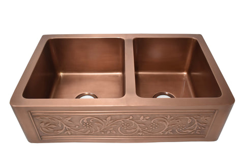 "Empire Industries Versailles 33"" Copper Farmhouse Sink, 55/45 Double Bowl, VE33D"
