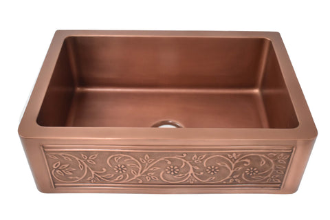 "Empire Industries Versailles 33"" Copper Farmhouse Sink, VE33S"