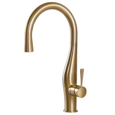 Houzer Vision Hidden Pull Down Kitchen Faucet Brushed Brass, VISPD-869-BB