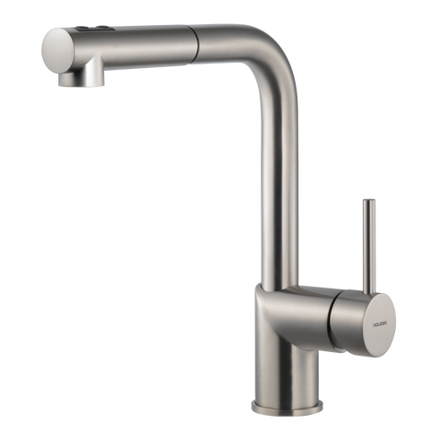 Houzer Vitale Pull Out Kitchen Faucet Brushed Nickel, VITPO-664-BN