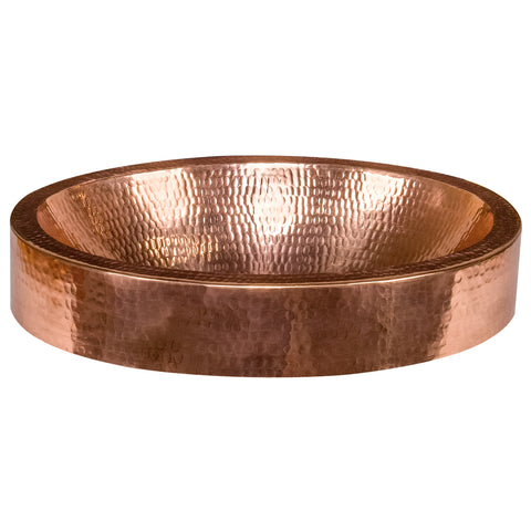 "Premier Copper Products 17"" Oval Copper Bathroom Sink, Polished Copper, VO17SKPC"