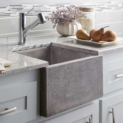 "Native Trails Ventana 15"" Nativestone Concrete Farmhouse Sink, Ash, NSB1515-A"