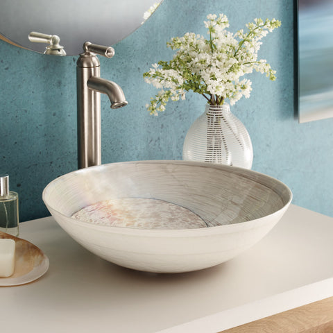 "Native Trails Murano 16"" Round Glass Bathroom Sink, Beachcomber, MG1717-BR"