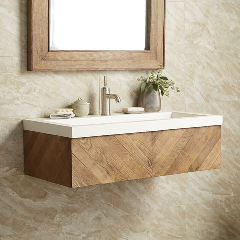 "Native Trails 36"" Chardonnay Floating Vanity with NativeStone Trough in Pearl, VNW191-NSL3619-P"