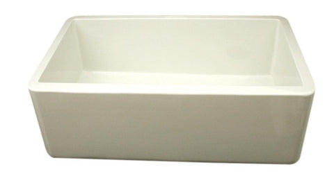 Whitehaus WH3018-BISCUIT Farmhaus Fireclay Duet Series Reversible Sink with Smooth Front Apron