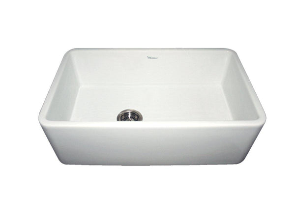 Whitehaus WH3018-WHITE Farmhaus Fireclay Duet Series Reversible Sink with Smooth Front Apron