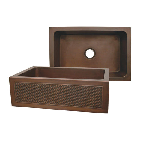 Whitehaus WH3020COFCBW-OBS Copperhaus Rectangular Undermount Sink with a Basket Weave Design Front Apron