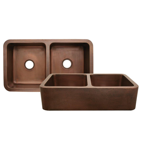 Whitehaus WH3621COFCD-OCH Copperhaus Rectangular Double Bowl Undermount Sink with Hammered Front Apron