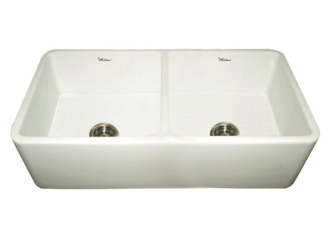 Whitehaus WH3719-BISCUIT Farmhaus Fireclay Duet Series Reversible Sink with Smooth Front Apron