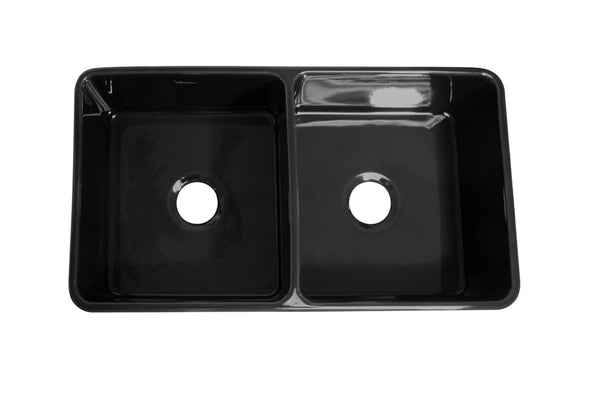 Whitehaus WH3719-BLACK Farmhaus Fireclay Duet Series Reversible Sink with Smooth Front Apron