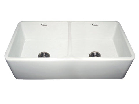 Whitehaus WH3719-WHITE Farmhaus Fireclay Duet Series Reversible Sink with Smooth Front Apron