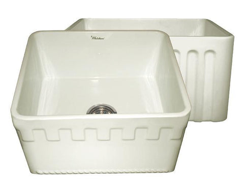 Whitehaus WHFLATN2018-BISCUIT Farmhaus Fireclay Reversible Sink with a Castlehaus Design Front Apron on One Side  and Fluted Front Apron on the Opposite Side