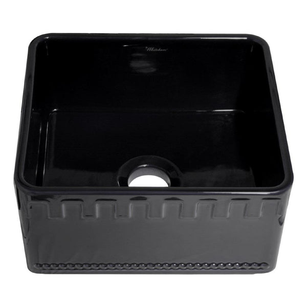 Whitehaus WHFLATN2018-BLACK Farmhaus Fireclay Reversible Sink with a Castlehaus Design Front Apron on One Side  and Fluted Front Apron on the Opposite Side