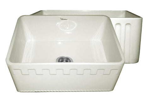 Whitehaus WHFLATN2418-BISCUIT Farmhaus Fireclay Reversible Sink with a Castlehaus Design Front Apron on One Side  and Fluted Front Apron on the Opposite Side