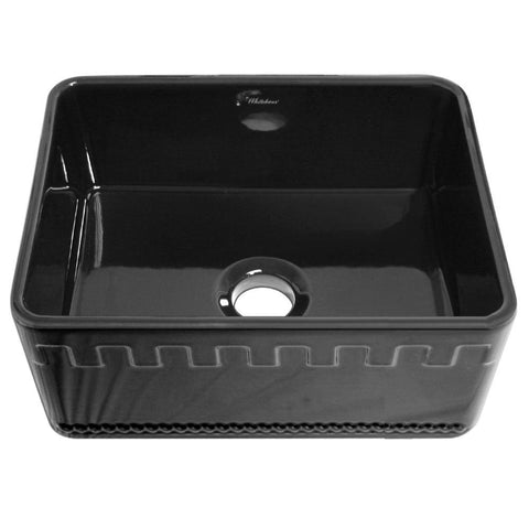 Whitehaus WHFLATN2418-BLACK Farmhaus Fireclay Reversible Sink with a Castlehaus Design Front Apron on One Side  and Fluted Front Apron on the Opposite Side