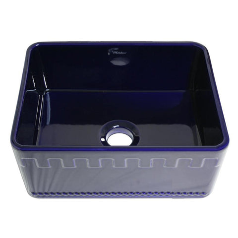Whitehaus WHFLATN2418-BLUE Farmhaus Fireclay Reversible Sink with a Castlehaus Design Front Apron on One Side  and Fluted Front Apron on the Opposite Side