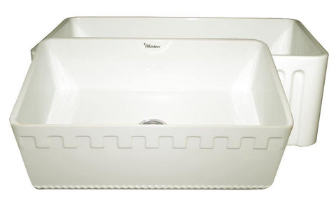 Whitehaus WHFLATN3018-BISCUIT Farmhaus Fireclay Reversible Sink with a Castlehaus Design Front Apron on One Side  and Fluted Front Apron on the Opposite Side