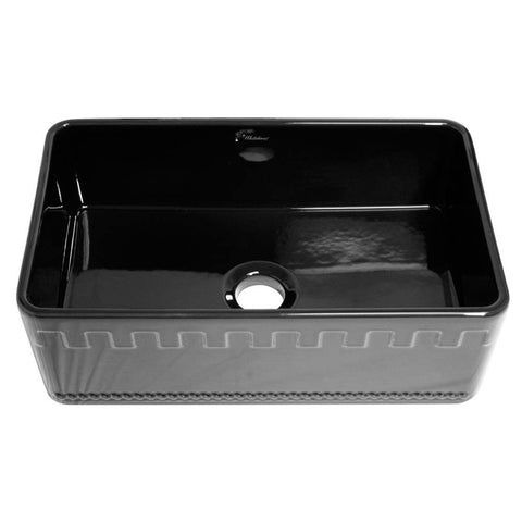 Whitehaus WHFLATN3018-BLACK Farmhaus Fireclay Reversible Sink with a Castlehaus Design Front Apron on One Side  and Fluted Front Apron on the Opposite Side