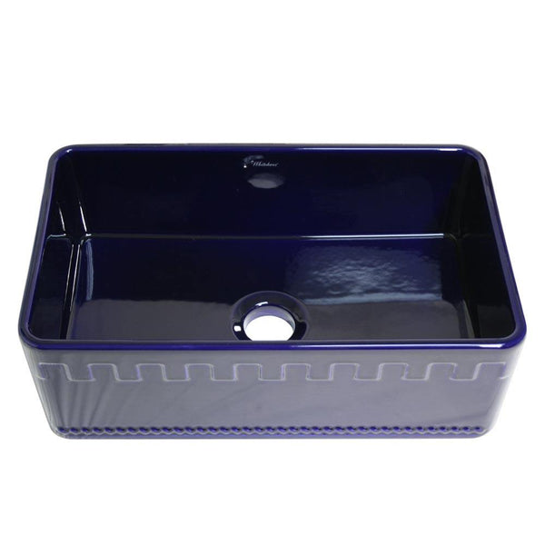 Whitehaus WHFLATN3018-BLUE Farmhaus Fireclay Reversible Sink with a Castlehaus Design Front Apron on One Side  and Fluted Front Apron on the Opposite Side