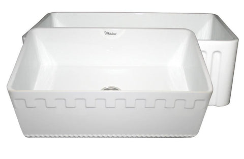 Whitehaus WHFLATN3018-WHITE Farmhaus Fireclay Reversible Sink with a Castlehaus Design Front Apron on One Side  and Fluted Front Apron on the Opposite Side