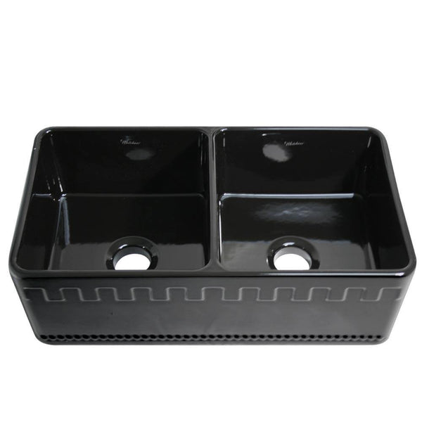 Whitehaus WHFLATN3318-BLACK Farmhaus Fireclay Reversible Double Bowl Sink with a Castlehaus Design Front Apron on One Side  and Fluted Front Apron on the Opposite Side