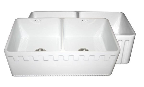 Whitehaus WHFLATN3318-WHITE Farmhaus Fireclay Reversible Double Bowl Sink with a Castlehaus Design Front Apron on One Side  and Fluted Front Apron on the Opposite Side