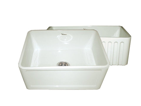Whitehaus WHFLCON2418-BISCUIT Farmhaus Fireclay Reversible Sink with a Concave Front Apron on One Side and Fluted Front Apron on the Other