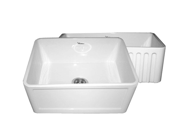 Whitehaus WHFLCON2418-WHITE Farmhaus Fireclay Reversible Sink with a Concave Front Apron on One Side and Fluted Front Apron on the Other
