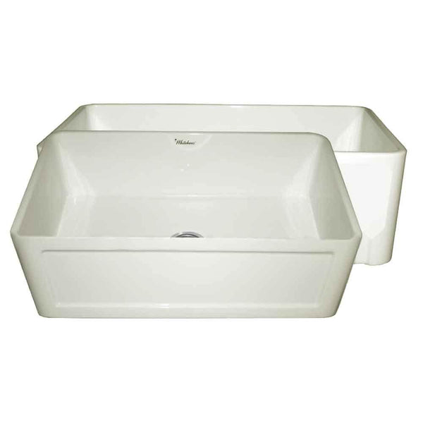 Whitehaus WHFLCON3018-BISCUIT Farmhaus Fireclay Reversible Sink with a Concave Front Apron on One Side and Fluted Front Apron on the Other