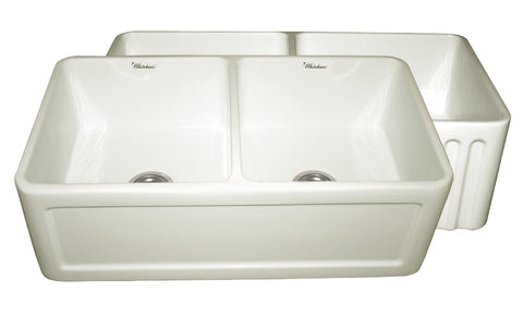 Whitehaus WHFLCON3318-BISCUIT Farmhaus Fireclay Reversible Double Bowl Sink with a Concave Front Apron on One Side and Fluted Front Apron on the Other