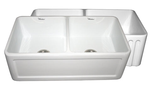 Whitehaus WHFLCON3318-WHITE Farmhaus Fireclay Reversible Double Bowl Sink with a Concave Front Apron on One Side and Fluted Front Apron on the Other