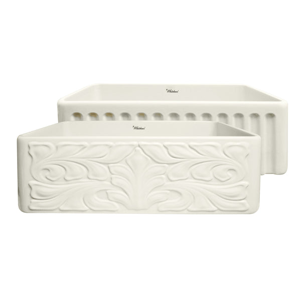 "Whitehaus 30"" Fireclay Single Bowl Farmhouse/Apron Sink, Biscuit, WHFLGO3018-BISCUIT Front Design View"