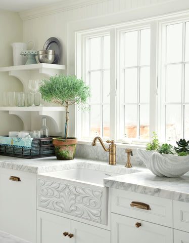 "Whitehaus 30"" Fireclay Farmhouse Sink, Single Bowl, White, WHFLGO3018-WHITE Lifestyle Image"