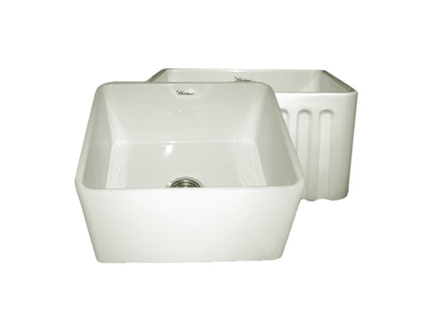 Whitehaus WHFLPLN2018-BISCUIT Farmhaus Fireclay Reversible Sink with Smooth Front Apron on One Side and Fluted Front Apron on the Opposite Side