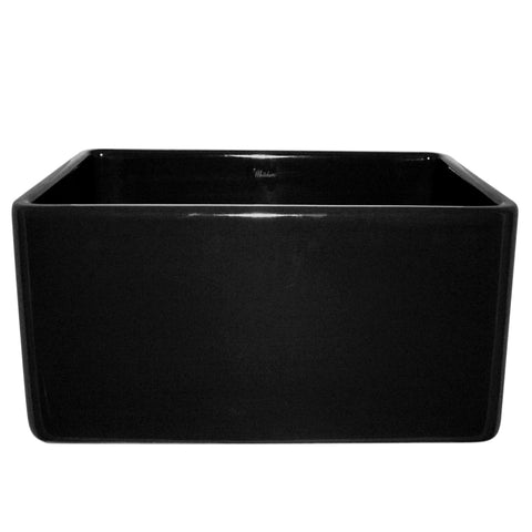 Whitehaus WHFLPLN2018-BLACK Farmhaus Fireclay Reversible Sink with Smooth Front Apron on One Side and Fluted Front Apron on the Opposite Side