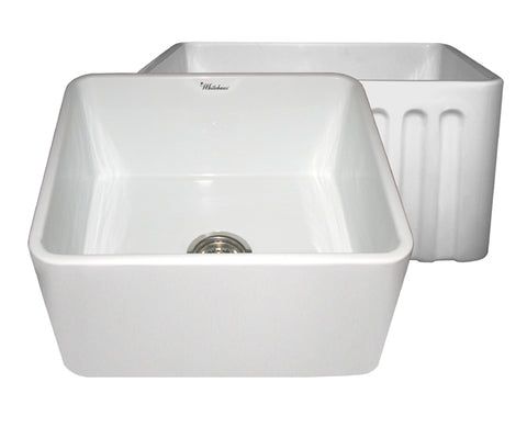 Whitehaus WHFLPLN2018-WHITE Farmhaus Fireclay Reversible Sink with Smooth Front Apron on One Side and Fluted Front Apron on the Opposite Side