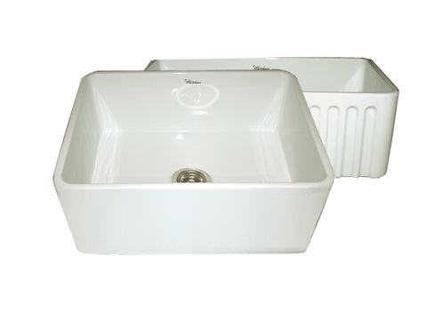 Whitehaus WHFLPLN2418-BISCUIT Farmhaus Fireclay Reversible Sink with Smooth Front Apron on One Side and Fluted Front Apron on the Opposite Side