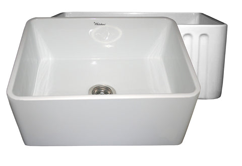 Whitehaus WHFLPLN2418-WHITE Farmhaus Fireclay Reversible Sink with Smooth Front Apron on One Side and Fluted Front Apron on the Opposite Side